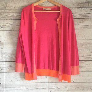 Loft Womens Long Sleeve Cardigan Pink Orange Color